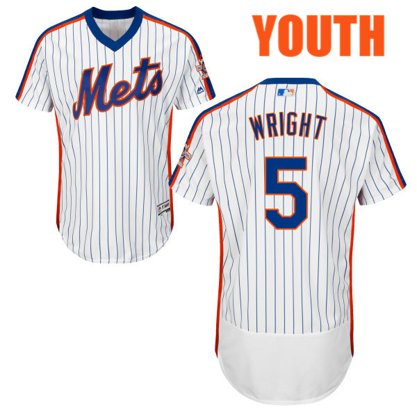 Youth David Wright no. 5 White Home Authentic Majestic Flexbase New York Mets Baseball Jersey - David Wright Jersey