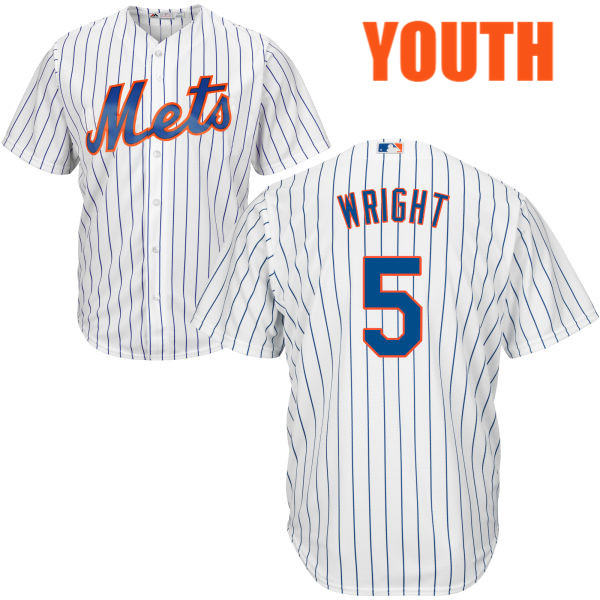 Youth Cool Base Home David Wright no. 5 Majestic White Authentic New York Mets Baseball Jersey - David Wright Jersey