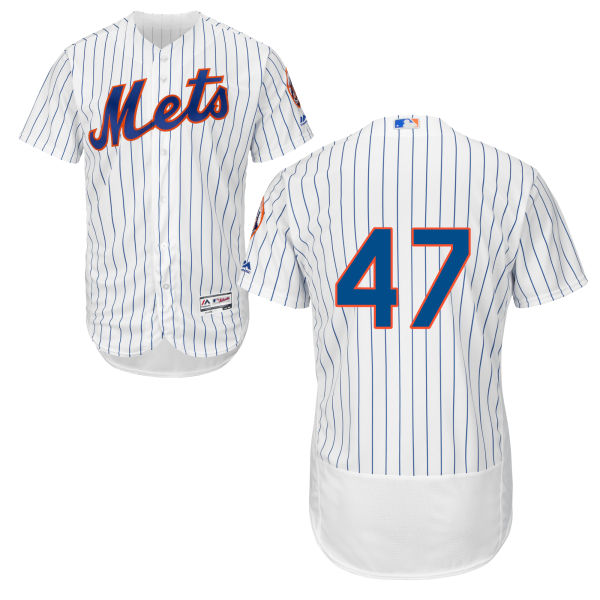 f59eb418a41 ... Cool Base Mens Flexbase Hansel Robles no. 47 White Authentic Majestic  New York Mets Baseball