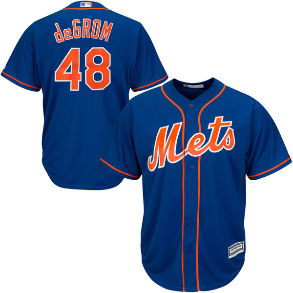 Mens Jacob deGrom Majestic no. 48 Royal Cool Base Authentic Alternate New York Mets Baseball Jersey - Jacob deGrom Jersey