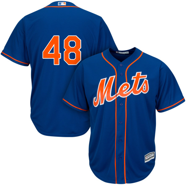 Alternate Mens Jacob deGrom no. 48 Cool Base Royal Majestic Authentic New York Mets Baseball Only Number Jersey - Jacob deGrom Jersey