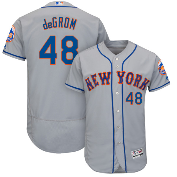 Mens Jacob deGrom Flexbase no. 48 Gray Majestic Road Authentic New York Mets Baseball Jersey - Jacob deGrom Jersey