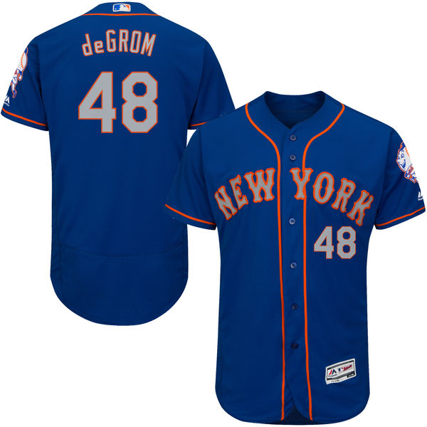Alternate Mens Flexbase Majestic Jacob deGrom no. 48 Royal Authentic New York Mets Baseball Jersey - Jacob deGrom Jersey