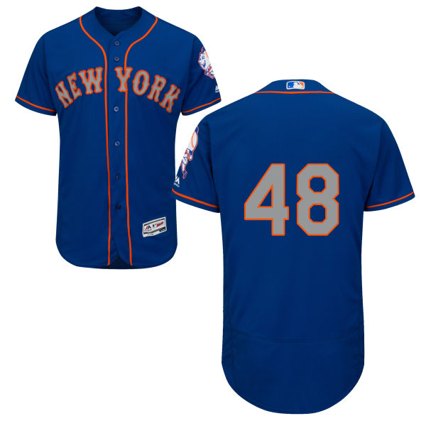 Mens Alternate Jacob deGrom Flexbase no. 48 Royal Majestic Authentic New York Mets Baseball Only Number Jersey - Jacob deGrom Jersey
