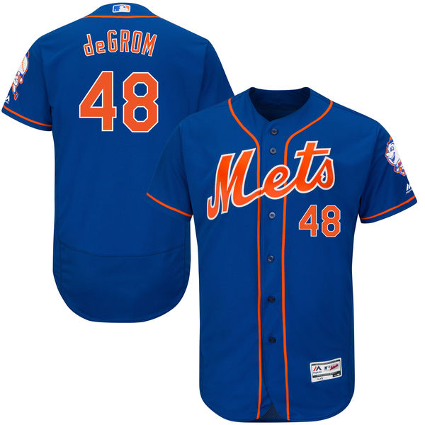 Mens Majestic Jacob deGrom Cool Base no. 48 Flexbase Royal Authentic New York Mets Baseball Jersey - Jacob deGrom Jersey
