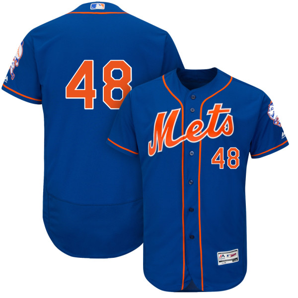 Mens Flexbase Jacob deGrom Majestic no. 48 Cool Base Royal Authentic New York Mets Baseball Only Number Jersey - Jacob deGrom Jersey