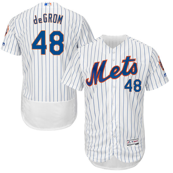 Mens Jacob deGrom no. 48 White Flexbase Cool Base Authentic Majestic New York Mets Baseball Jersey - Jacob deGrom Jersey