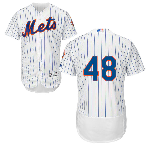 Mens Jacob deGrom Flexbase no. 48 Cool Base White Authentic Majestic New York Mets Baseball Only Number Jersey - Jacob deGrom Jersey