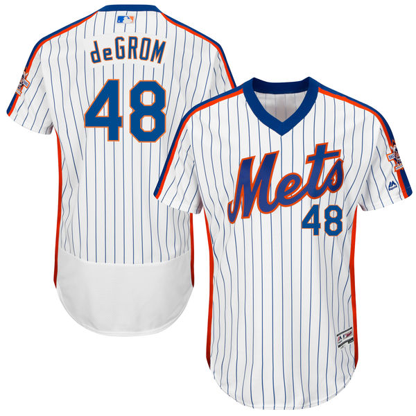 Mens Majestic Jacob deGrom Home no. 48 Flexbase White Authentic New York Mets Baseball Jersey - Jacob deGrom Jersey