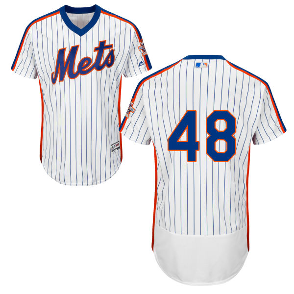 Majestic Mens Jacob deGrom no. 48 Flexbase White Home Authentic New York Mets Baseball Only Number Jersey - Jacob deGrom Jersey