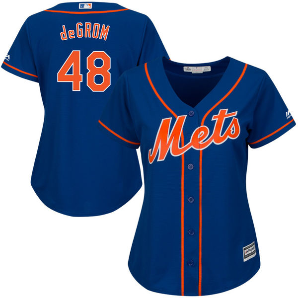 Womens Cool Base Alternate Jacob deGrom no. 48 Royal Authentic Majestic New York Mets Baseball Jersey - Jacob deGrom Jersey