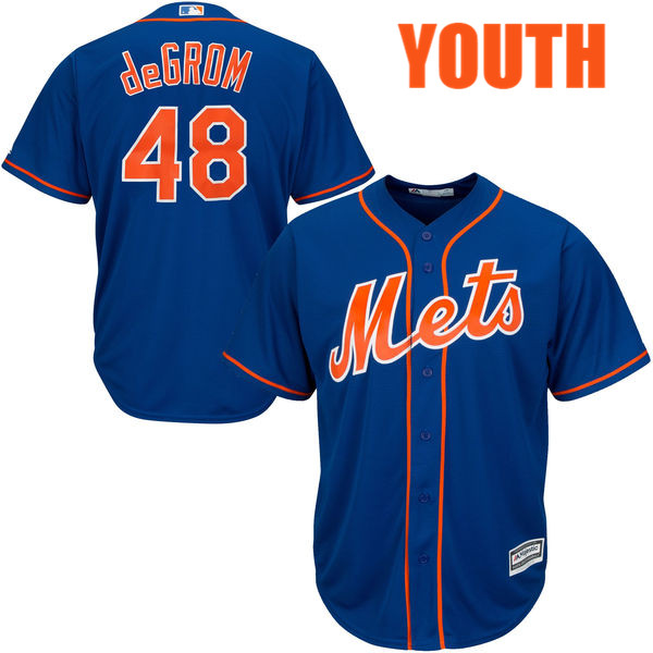 Youth Jacob deGrom Majestic no. 48 Alternate Royal Cool Base Authentic New York Mets Baseball Jersey - Jacob deGrom Jersey