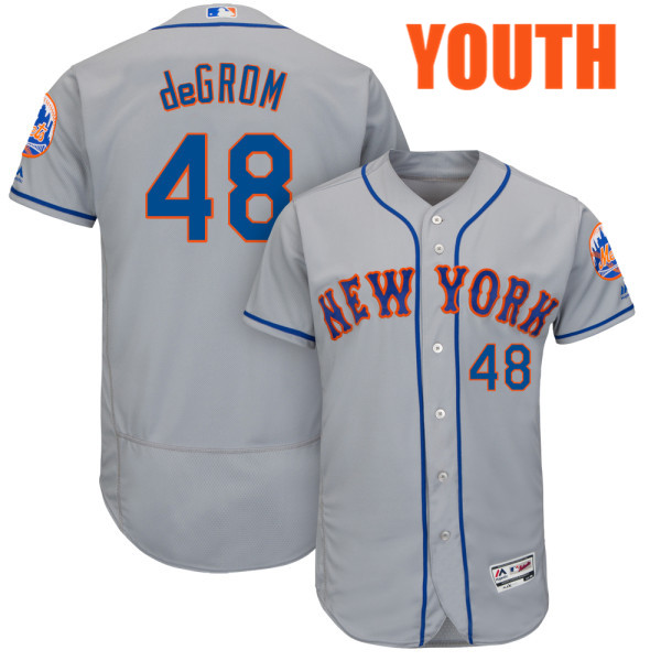 Youth Jacob deGrom no. 48 Road Gray Majestic Authentic Flexbase New York Mets Baseball Jersey - Jacob deGrom Jersey