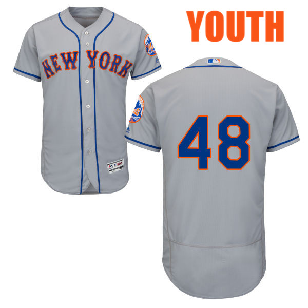 Road Youth Flexbase Jacob deGrom no. 48 Majestic Gray Authentic New York Mets Baseball Only Number Jersey - Jacob deGrom Jersey