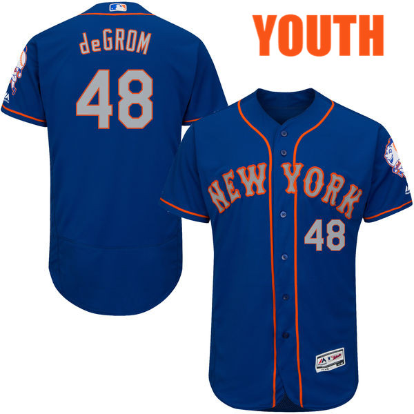 Youth Majestic Jacob deGrom no. 48 Royal Alternate Authentic Flexbase New York Mets Baseball Jersey - Jacob deGrom Jersey