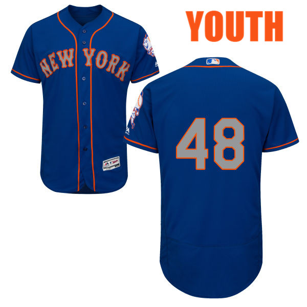 Flexbase Youth Jacob deGrom Alternate no. 48 Royal Authentic Majestic New York Mets Baseball Only Number Jersey - Jacob deGrom Jersey