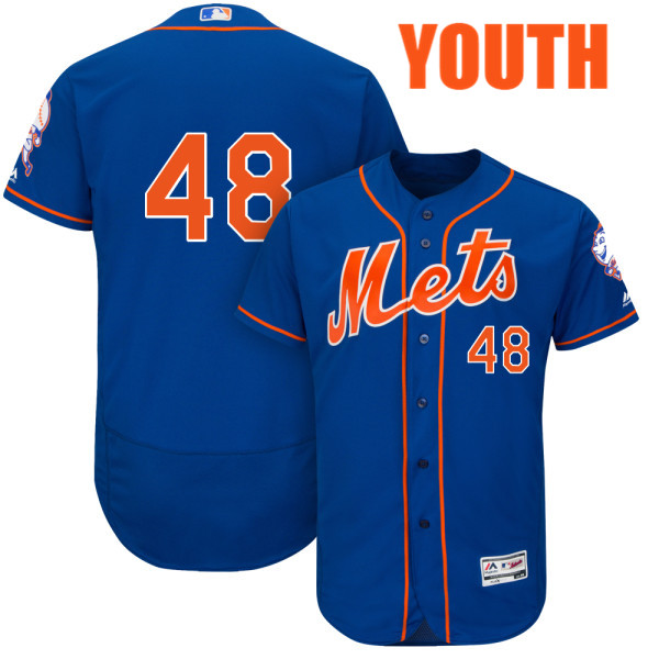 Youth Flexbase Cool Base Jacob deGrom no. 48 Royal Majestic Authentic New York Mets Baseball Only Number Jersey - Jacob deGrom Jersey