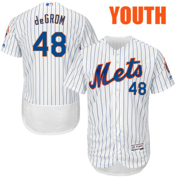 cc5cc6048 Majestic Youth Jacob deGrom Flexbase no. 48 White Authentic Cool Base New  York Mets Baseball Jersey
