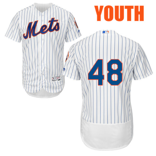 Youth Flexbase Jacob deGrom Majestic no. 48 White Cool Base Authentic New York Mets Baseball Only Number Jersey - Jacob deGrom Jersey