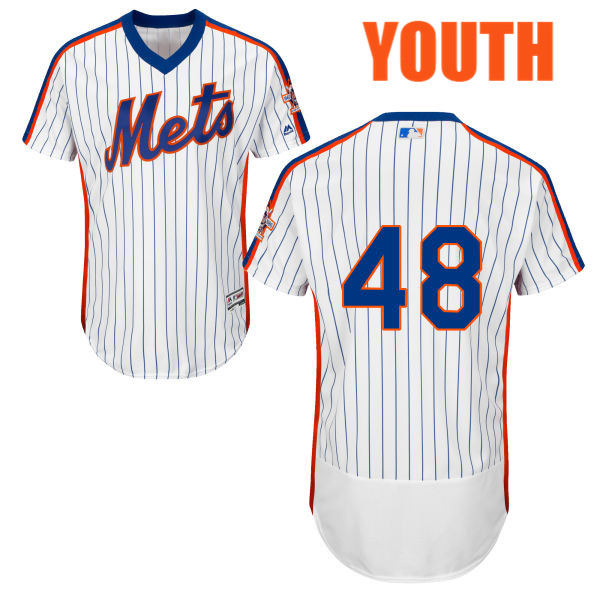 Youth Home Jacob deGrom no. 48 White Flexbase Authentic Majestic New York Mets Baseball Only Number Jersey - Jacob deGrom Jersey