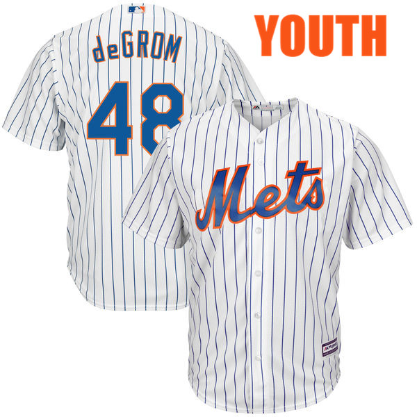 Youth Jacob deGrom no. 48 Home White Majestic Cool Base Authentic New York Mets Baseball Jersey - Jacob deGrom Jersey