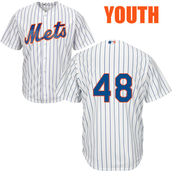 Cool Base Youth Majestic Jacob deGrom Home no. 48 White Authentic New York Mets Baseball Only Number Jersey - Jacob deGrom Jersey