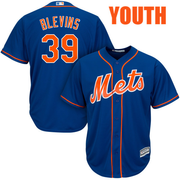 Youth Jerry Blevins no. 39 Alternate Royal Majestic Authentic Cool Base New York Mets Baseball Jersey - Jerry Blevins Jersey