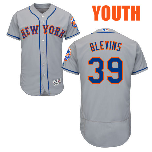 Flexbase Youth Jerry Blevins no. 39 Majestic Gray Authentic Road New York Mets Baseball Jersey - Jerry Blevins Jersey