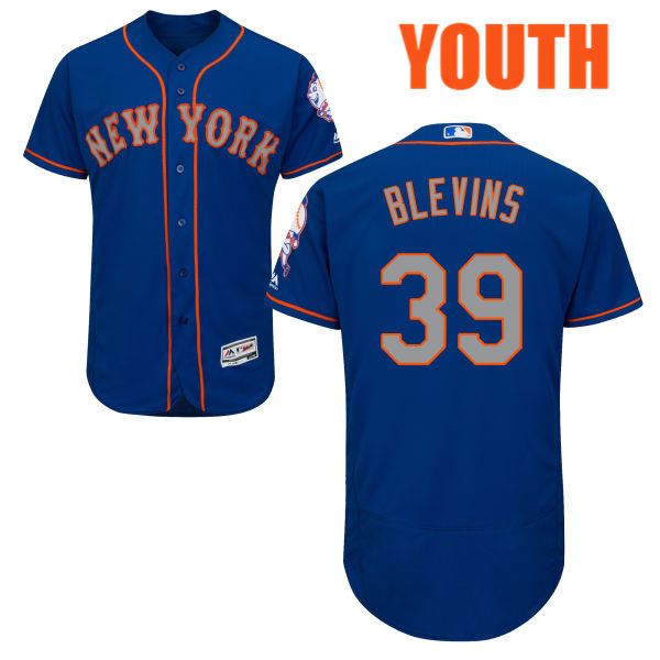 Majestic Youth Jerry Blevins no. 39 Royal Flexbase Authentic Alternate New York Mets Baseball Jersey - Jerry Blevins Jersey