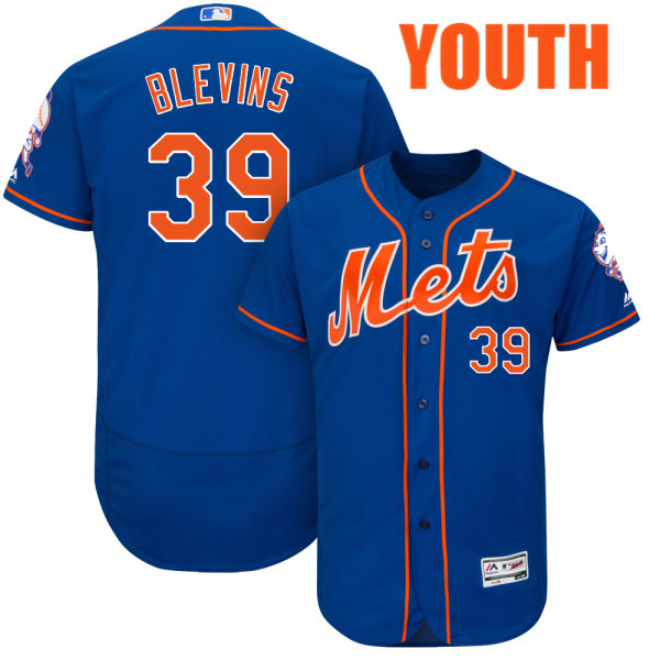 Cool Base Youth Jerry Blevins Majestic Flexbase no. 39 Royal Authentic New York Mets Baseball Jersey - Jerry Blevins Jersey