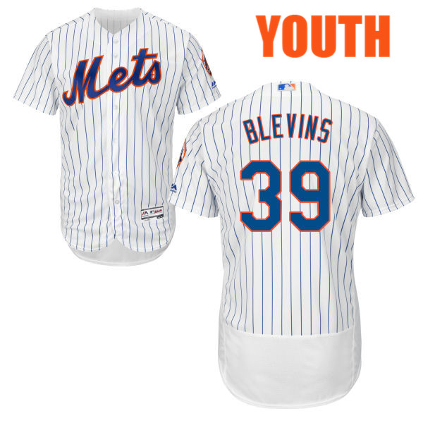Youth Jerry Blevins Cool Base no. 39 White Majestic Authentic Flexbase New York Mets Baseball Jersey - Jerry Blevins Jersey