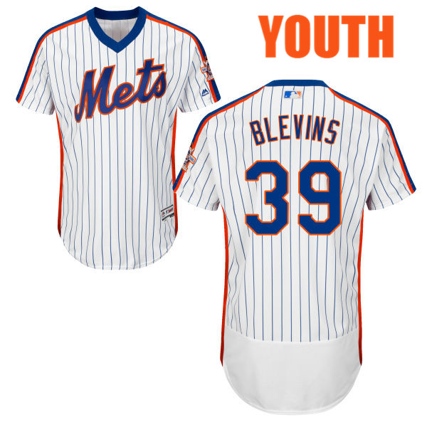 Majestic Youth Jerry Blevins no. 39 White Authentic Home Flexbase New York Mets Baseball Jersey - Jerry Blevins Jersey