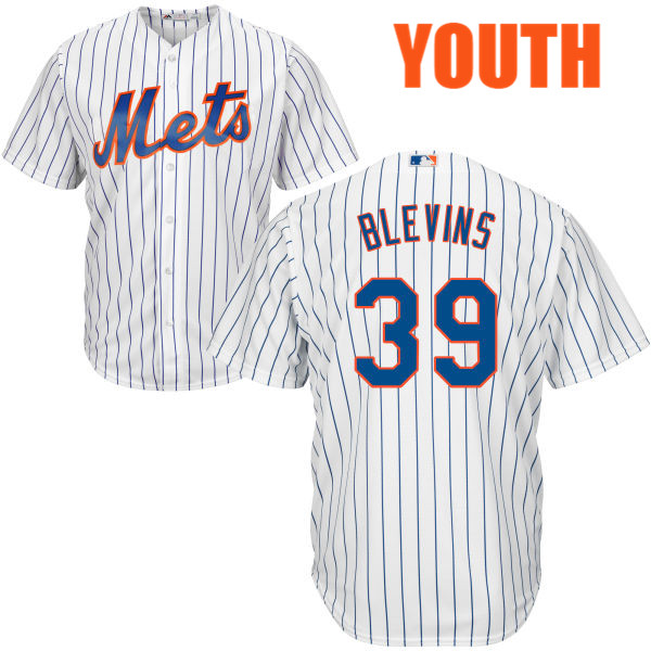 Majestic Youth Jerry Blevins no. 39 Home White Cool Base Authentic New York Mets Baseball Jersey - Jerry Blevins Jersey