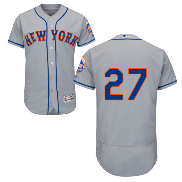 Mens Flexbase Jeurys Familia no. 27 Majestic Road Gray Authentic New York Mets Baseball Only Number Jersey