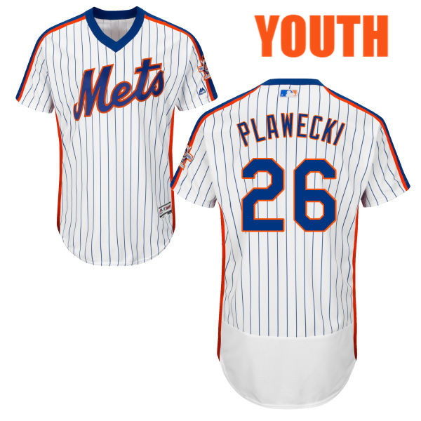 Home Youth Kevin Plawecki no. 26 White Flexbase Authentic Majestic New York  Mets Baseball Jersey