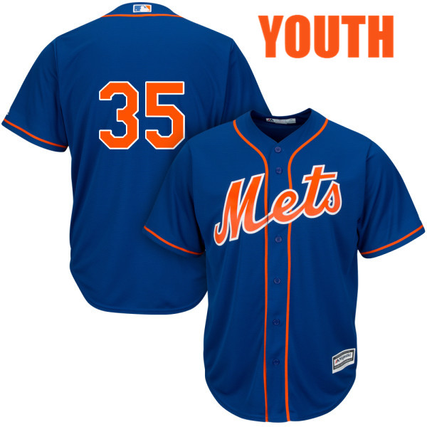 Youth Cool Base Logan Verrett no. 35 Majestic Royal Alternate Authentic New York Mets Baseball Only Number Jersey