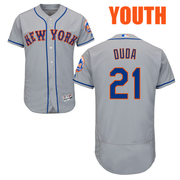 40dcb58997a Youth Majestic Lucas Duda no. 21 Road Gray Flexbase Authentic New York Mets  Baseball Jersey