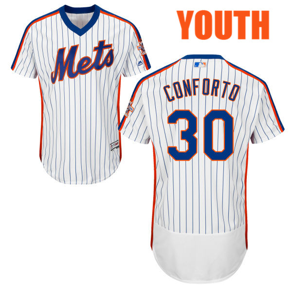 219f201f9 Flexbase Youth Michael Conforto no. 30 White Majestic Authentic Home New  York Mets Baseball Jersey