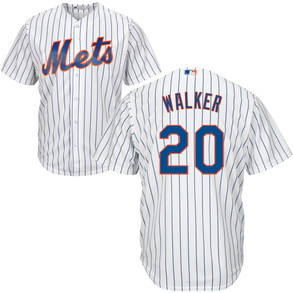 Cool Base Mens Home Neil Walker no. 20 White Authentic Majestic New York Mets Baseball Jersey - Neil Walker Jersey