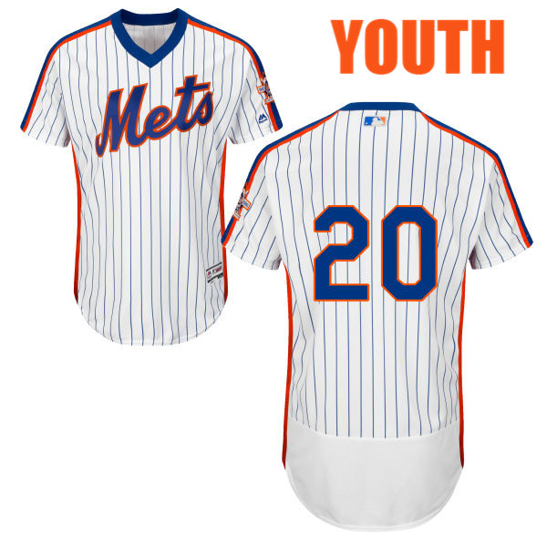Youth Neil Walker no. 20 Majestic White Flexbase Authentic Home New York Mets Baseball Only Number Jersey - Neil Walker Jersey
