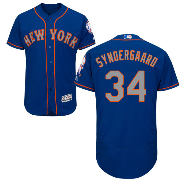 huge selection of 6256e b398c Mens Noah Syndergaard Flexbase no. 34 Alternate Royal Authentic Majestic  New York Mets Baseball Jersey