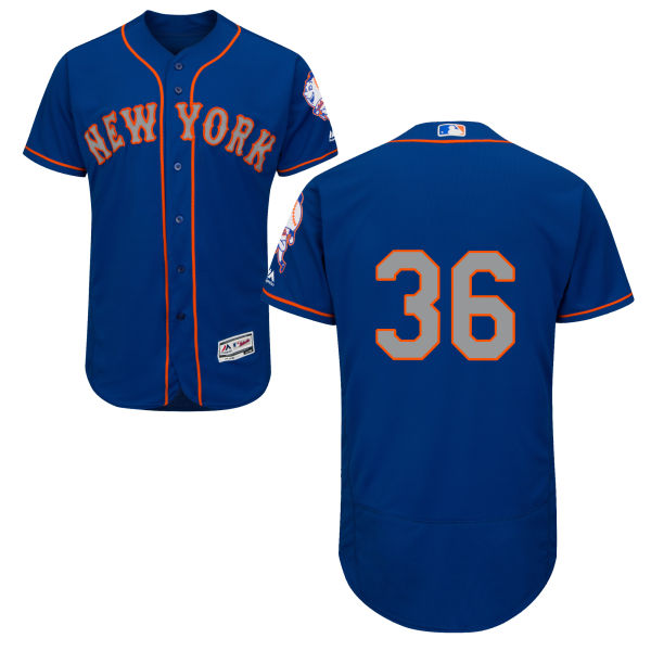 Flexbase Mens Sean Gilmartin no. 36 Alternate Royal Authentic Majestic New York Mets Baseball Only Number Jersey - Sean Gilmartin Jersey