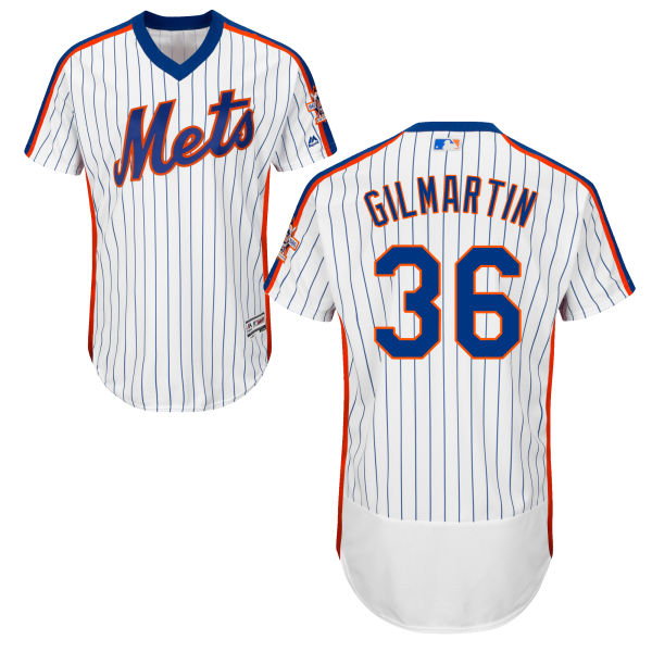 Home Mens Majestic Sean Gilmartin no. 36 White Authentic Flexbase New York Mets Baseball Jersey - Sean Gilmartin Jersey