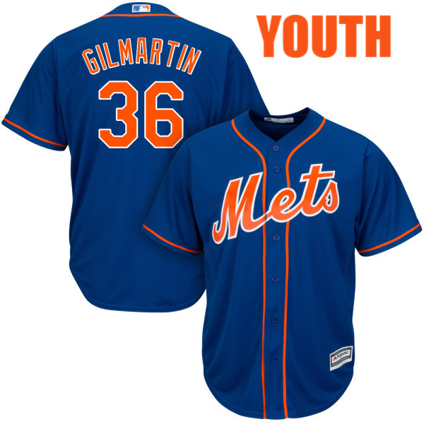 Youth Cool Base Sean Gilmartin no. 36 Majestic Royal Alternate Authentic New York Mets Baseball Jersey - Sean Gilmartin Jersey