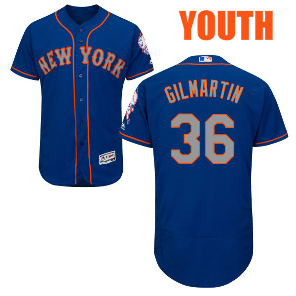 Youth Sean Gilmartin Majestic no. 36 Flexbase Royal Authentic Alternate New York Mets Baseball Jersey - Sean Gilmartin Jersey