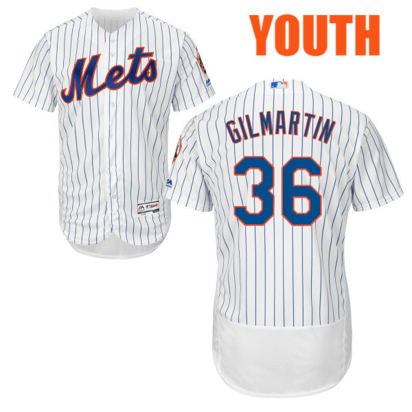 Cool Base Youth Sean Gilmartin Flexbase no. 36 Majestic White Authentic New York Mets Baseball Jersey - Sean Gilmartin Jersey