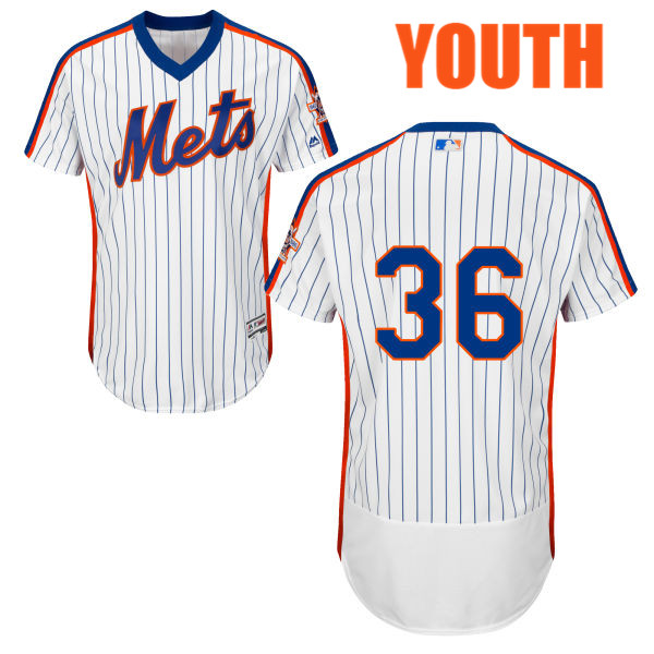 Youth Majestic Sean Gilmartin Flexbase Home no. 36 White Authentic New York Mets Baseball Only Number Jersey - Sean Gilmartin Jersey