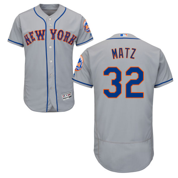 Flexbase Mens Steven Matz Road no. 32 Majestic Gray Authentic New York Mets Baseball Jersey - Steven Matz Jersey