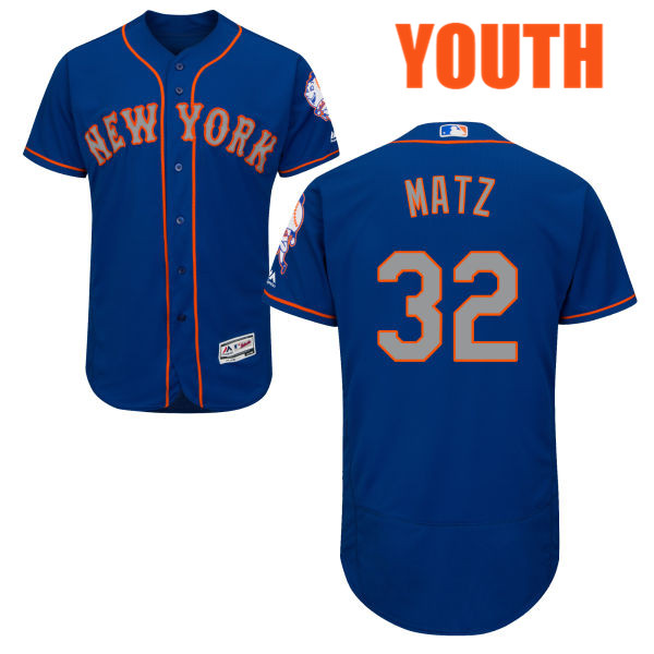 Alternate Youth Steven Matz no. 32 Royal Majestic Flexbase Authentic New York Mets Baseball Jersey - Steven Matz Jersey