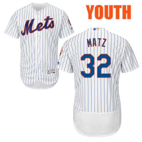 Cool Base Youth Flexbase Steven Matz no. 32 White Authentic Majestic New York Mets Baseball Jersey - Steven Matz Jersey
